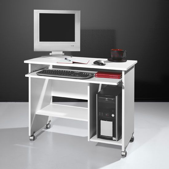 Compact Computer Trolley In White With Rollers | Computer ...