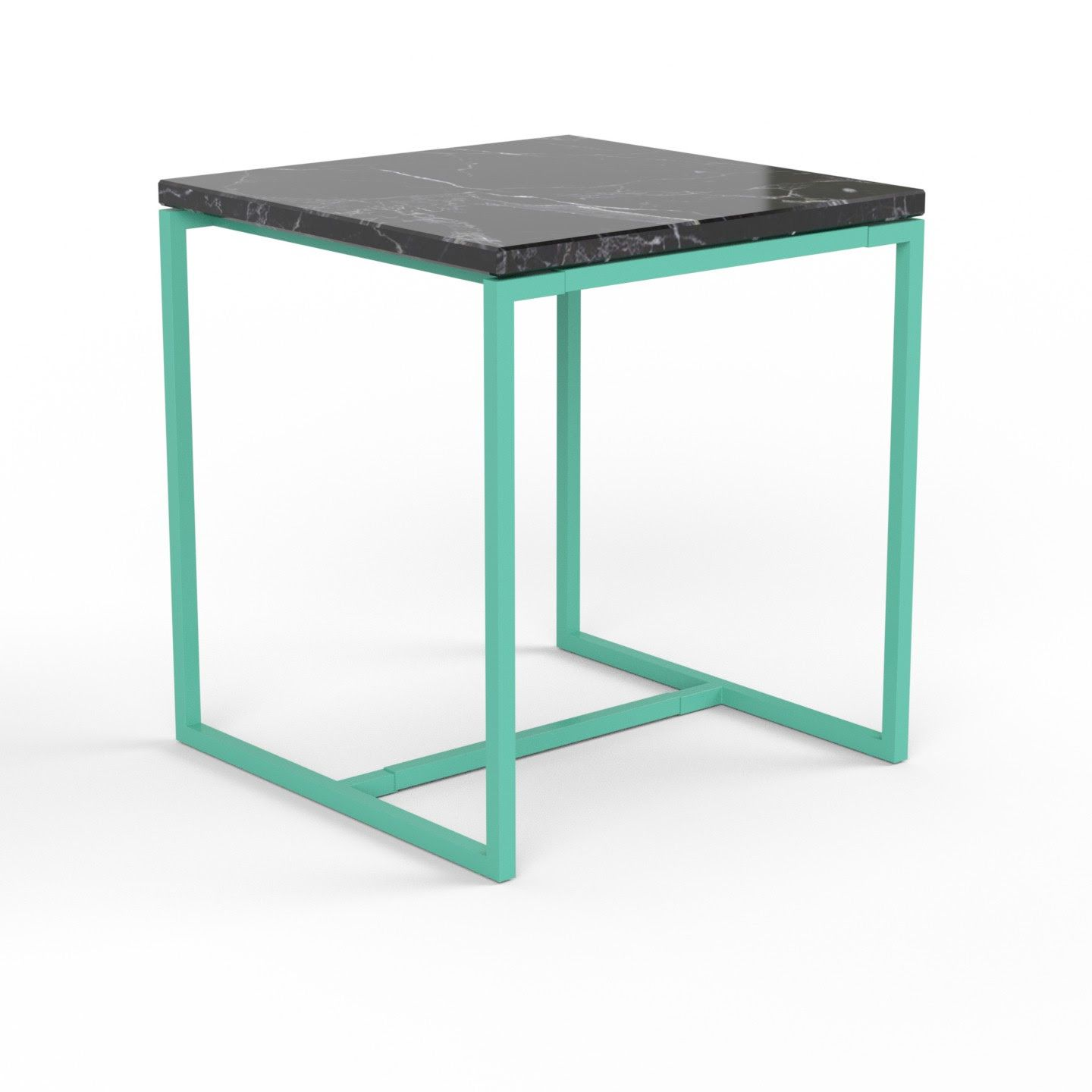 Wmg Konsolentisch Sideboard Lima Metall Schwarzbraun Syde Table With A Frame In Light Green And A Black Marble Tabletop