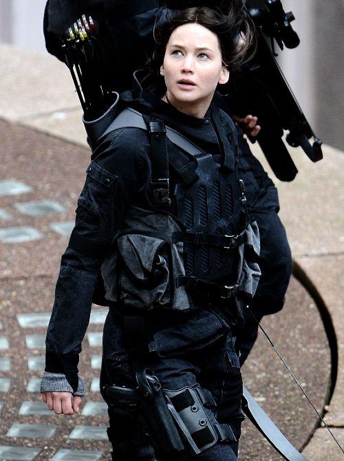 Jennifer Lawrence as Katniss Everdeen on the set of Mockingjay. May 12th 2014.