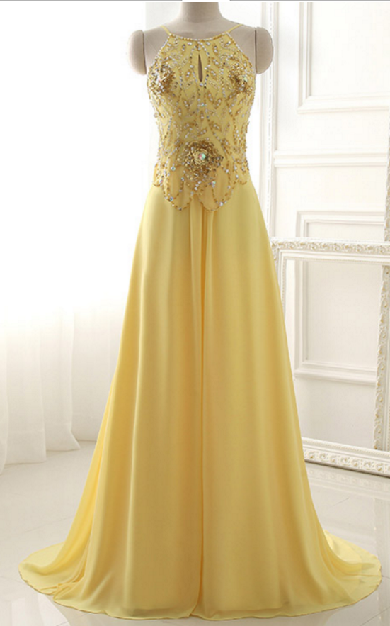 New Arrival Yellow Dress Outdoor Dress Sexy Silk Prom Promdress