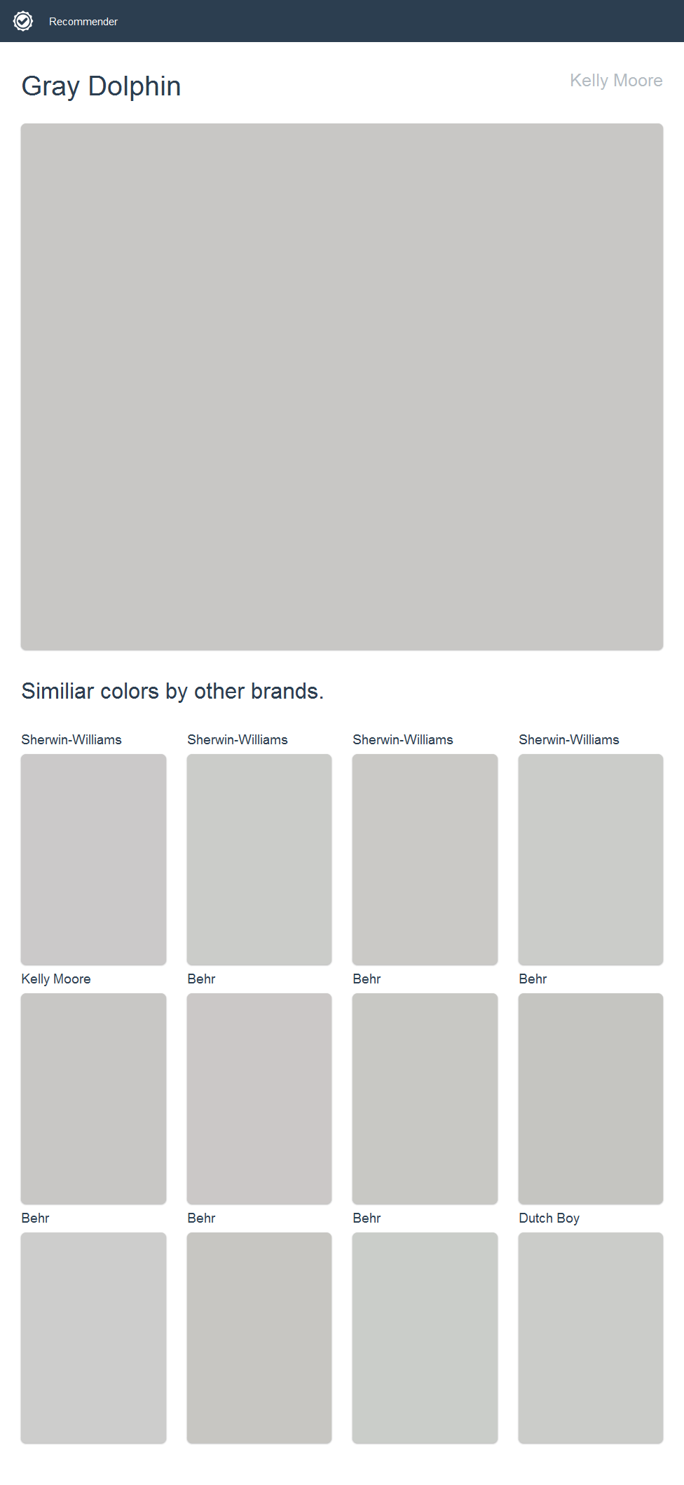 Gray Dolphin Kelly Moore Click The Image To See Similiar Colors By Other Brands Dunn Edwards Paint House Paint Exterior Behr Paint Colors