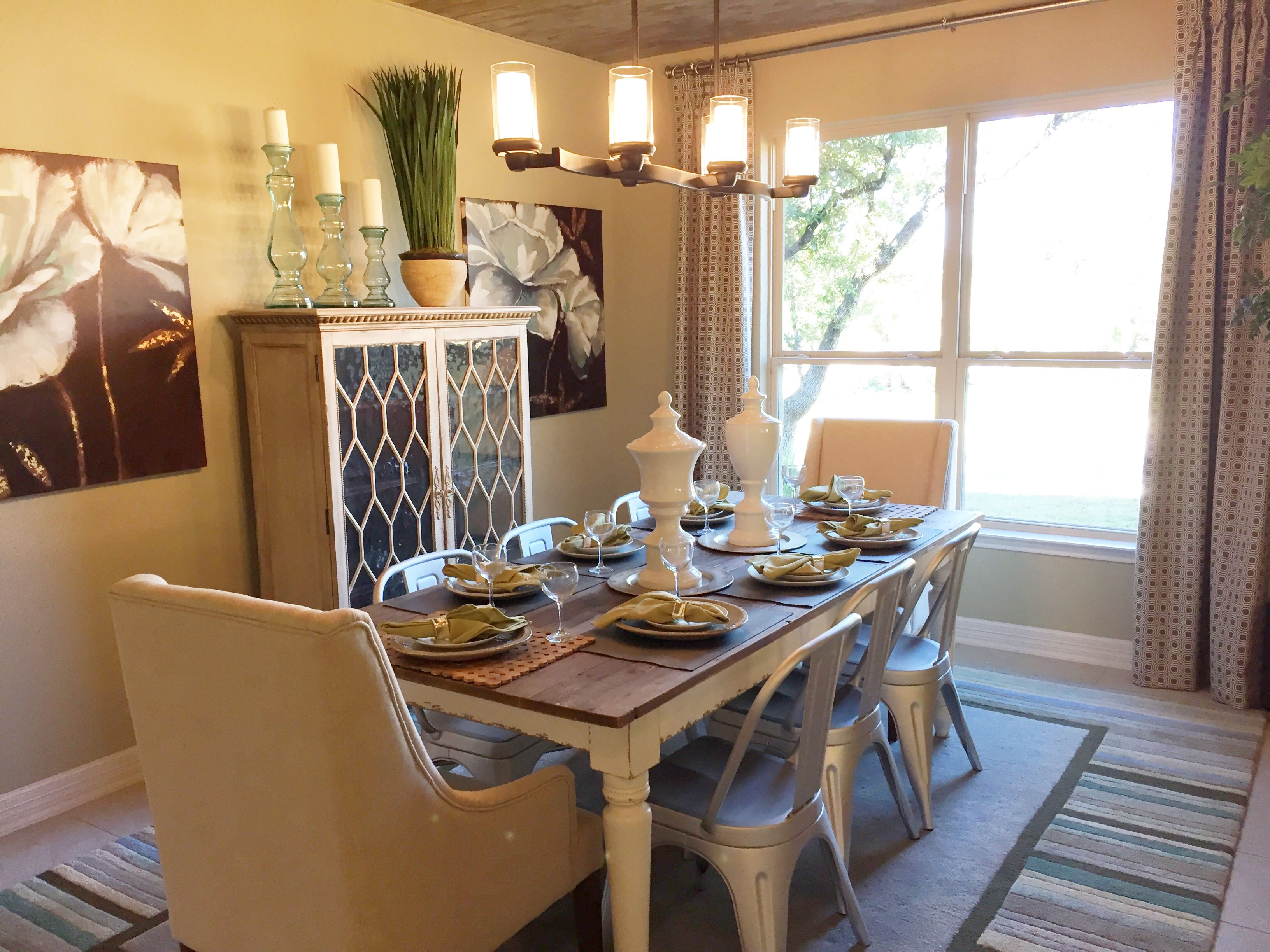 Farmhouse Table With Mix Of Upholstered And Metal Chairs Sitterle Model