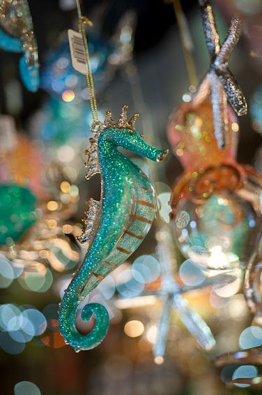 Seahorse Christmas Ornament Turquoise Christmas Mermaid