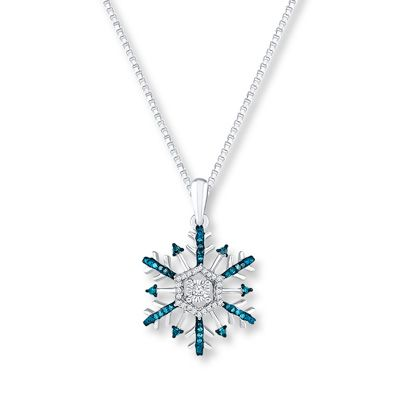 Snowflake Necklace 1/5 ct tw Diamonds Sterling Silver