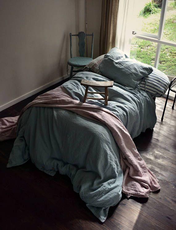 Duck Egg Blue Heavy Weight Linen Duvet Cover Rustic Heavy Linen Bedding Hand Dyed Linen Contemporary Bed Linen Bed Linens Luxury Beige Bed Linen