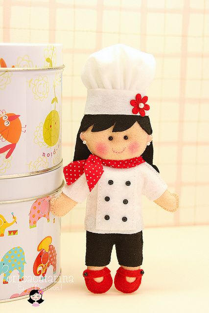 Chef De Cozinha Brinquedos De Feltro Molde Boneca De