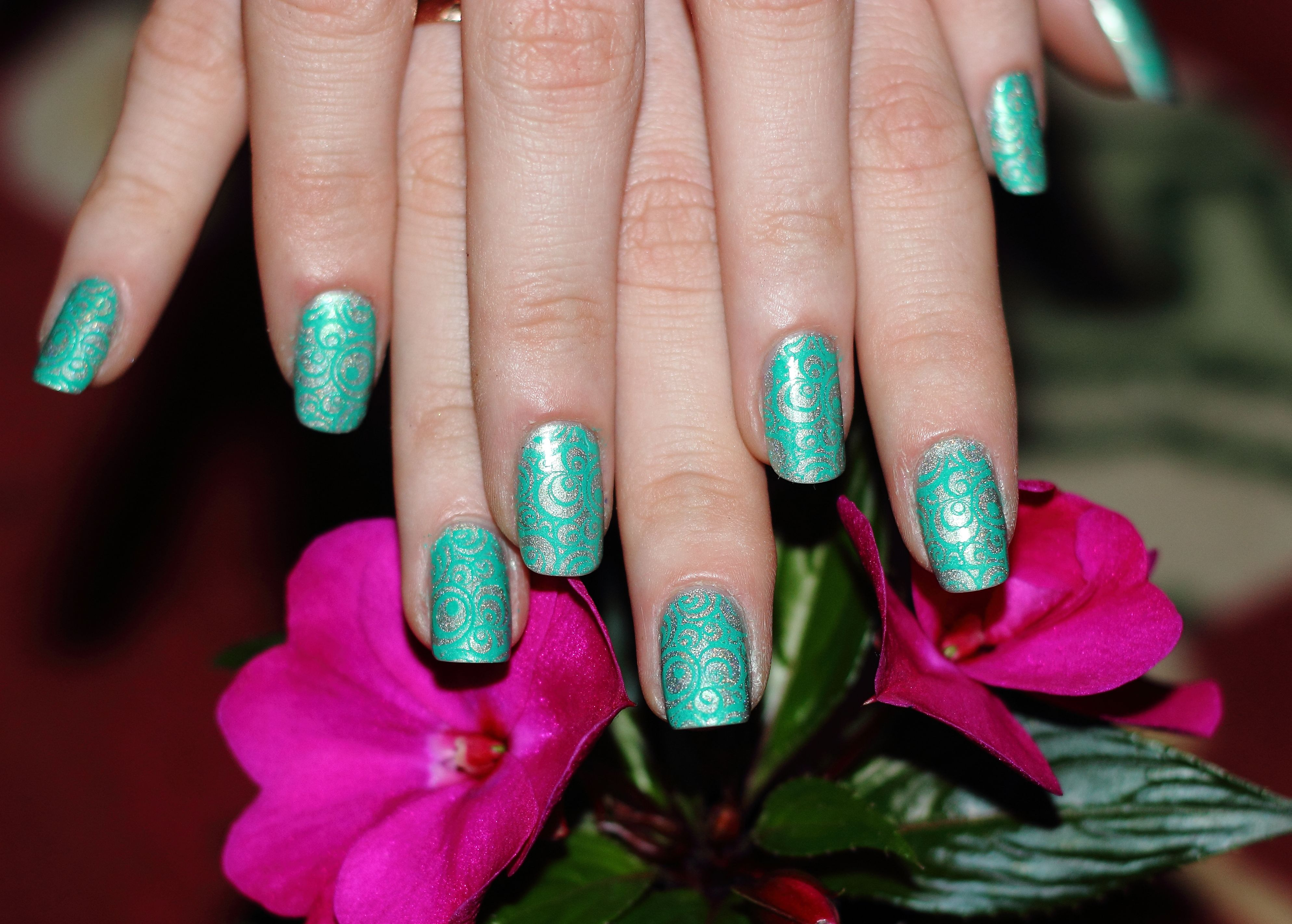 Nail ornaments with konad stamps