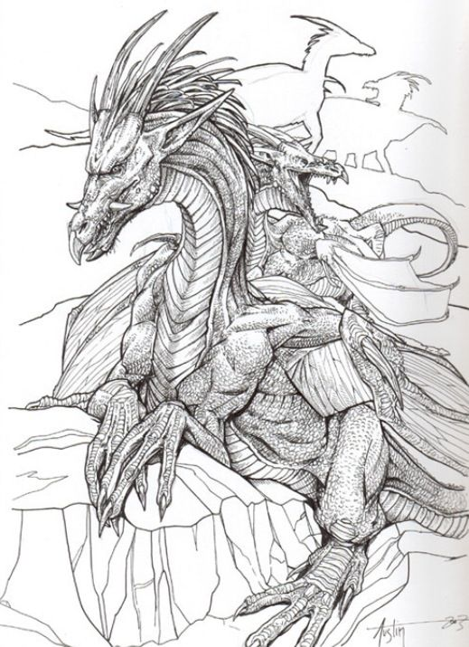 Drawing of a Dragon. (+dragons in the back)   Fantasy   Pinterest ...