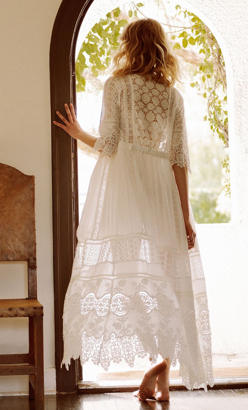 Romantic lace maxi dress - the Aurora Gown by Spell Designs for Free People #boho #wedding #dress