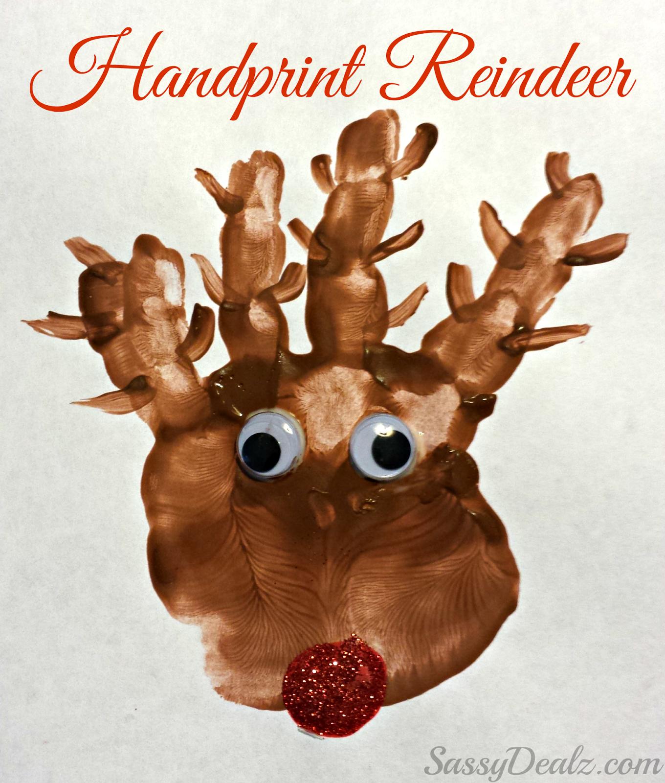 Christmas Craft Project Ideas Part - 28: Reindeer Craft Projects | Handprint Reindeer Christmas Craft For Kids  (Paint Project)