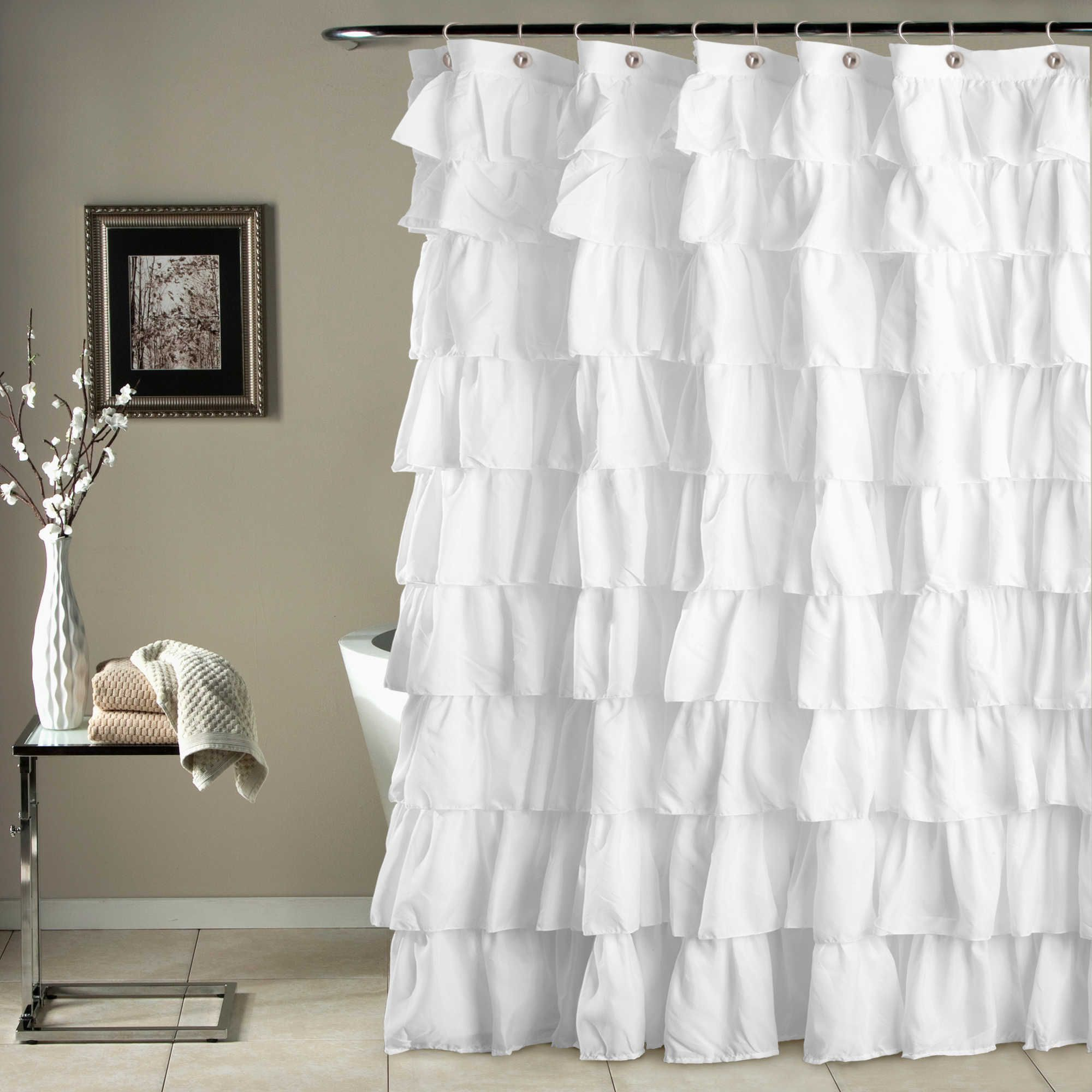 Would Be Even Better In Ruffled White Lace Ruffle Shower Curtain