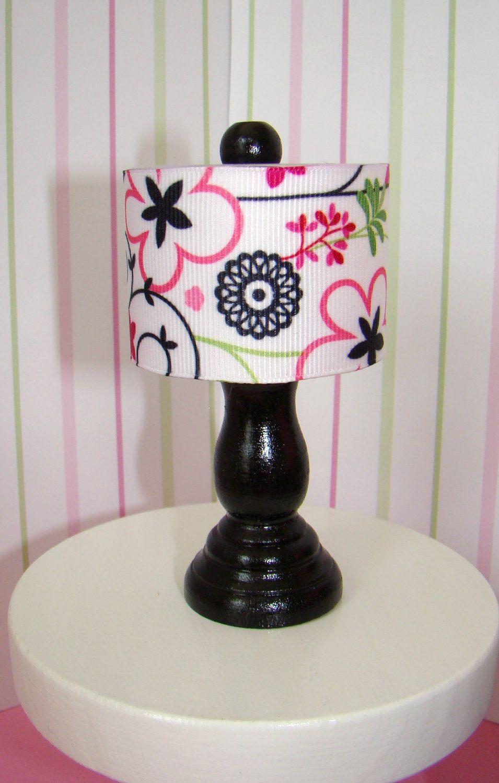 Barbie Furniture Black Table Lamp W Drum Lampshade