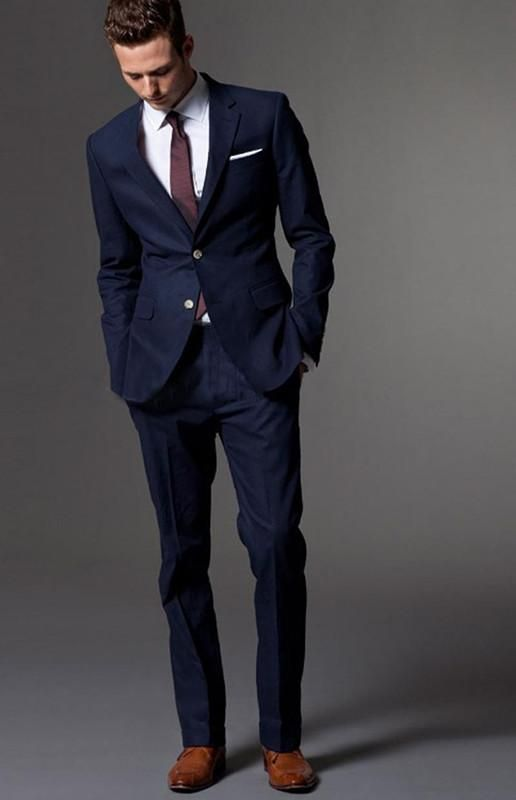 Custom Made Dark Blue Men Suit Tailor Bespoke Light Navy Wedding Suits For Slim Fit Groom Tuxedos Groomsmen Attire Mens