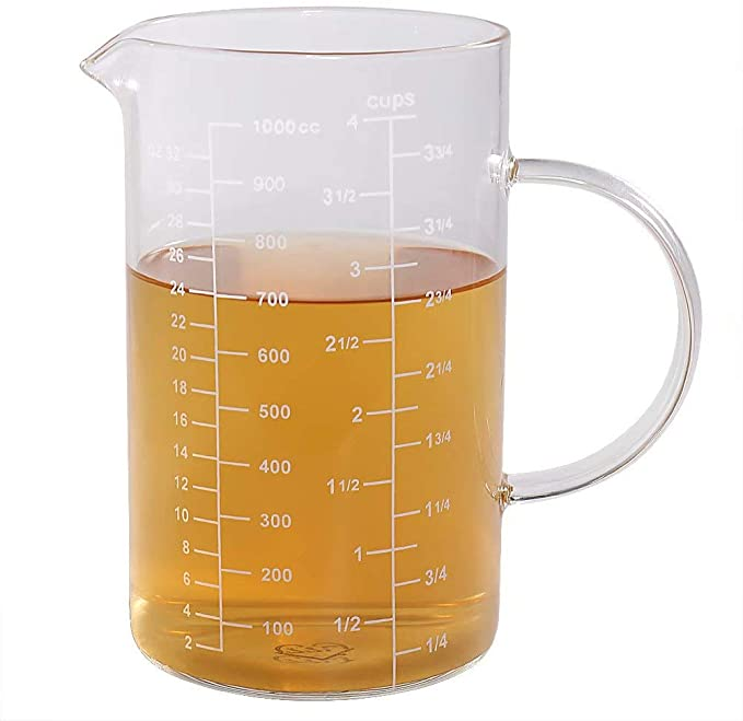 Amazon Com Glass Measuring Cup Insulated Handle V Shaped Spout 77l High Borosilicate Glass Measurin Glass Measuring Cup Measuring Cups Borosilicate Glass