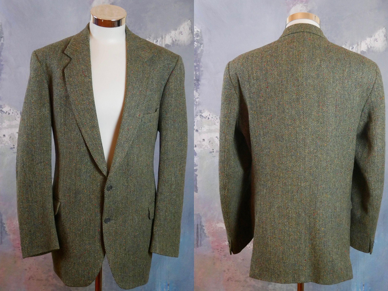 Irish Donegal Tweed Blazer Green Herringbone Wool Single Breasted Jacket Size 46 Us Uk By Eighthdayblazers On Etsy In 2020 Tweed Blazer Blazer Vintage Blazer