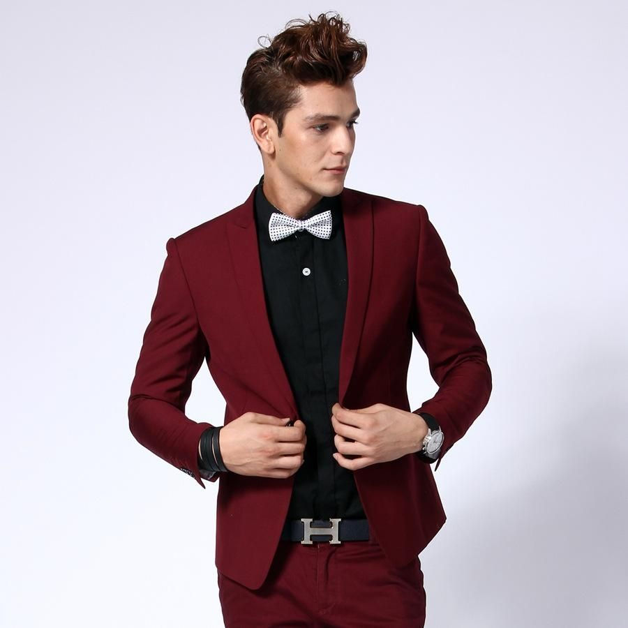 Hot Sale One Button Dark Red Groom Tuxedos Groomsmen Men S Wedding Prom Suits Bridegroom Jacket Pants Prom Outfits For Guys Prom Suits For Men Suits For Guys