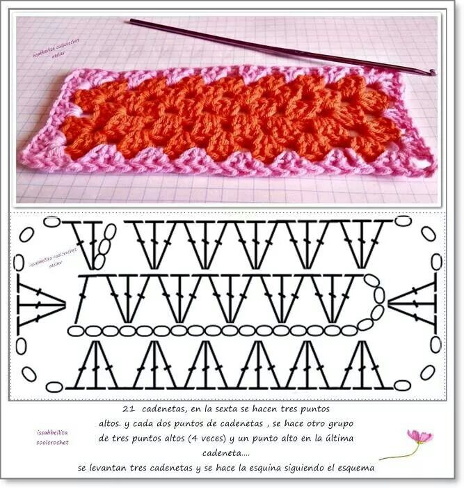 Rectangular granny stitch crochet pattern. Ds chaque angle. Ne faire que 2 mailles en l'air au lieu de 3.