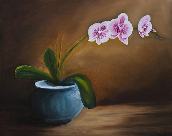 Orchids. Oil painting on canvas.