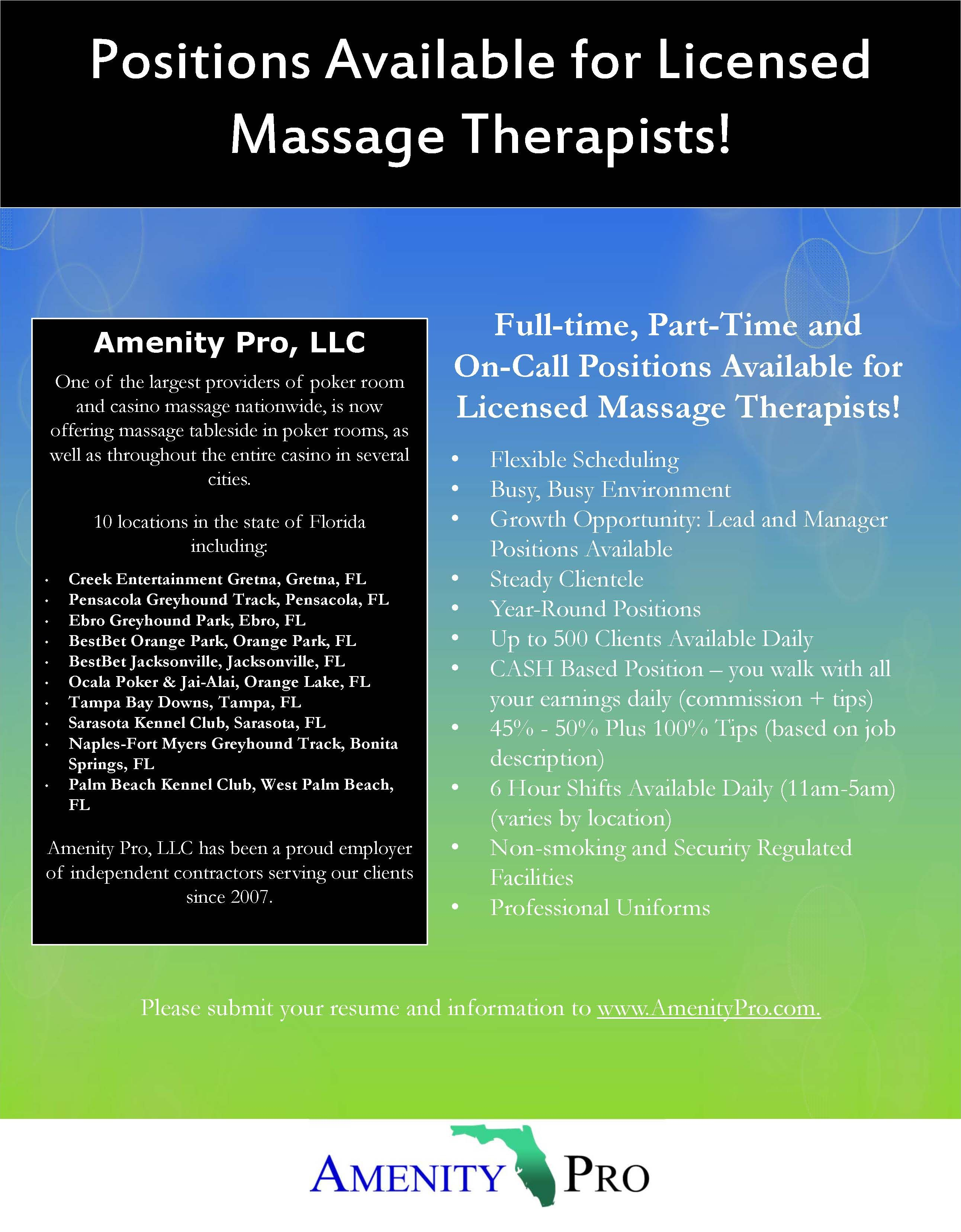 Join The Amenity Pro Team Today Licensed Massage Therapist