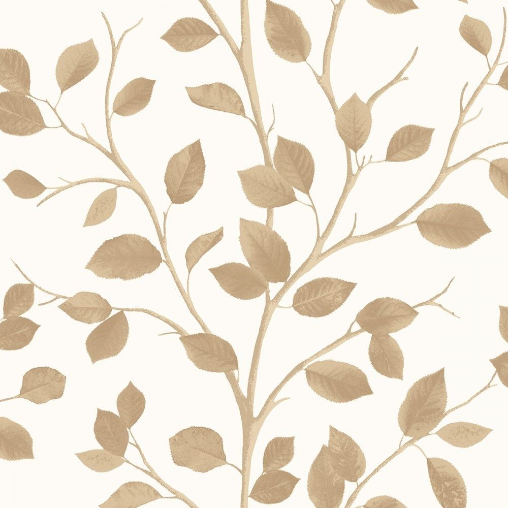 Fine Decor Woodland Leaf Wallpaper Cream Metallic Beige Fd Fine Decor From I Love Wallpaper Uk