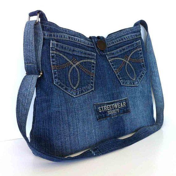 Crossbody purse  recycled denim bag  upcycled jean cross body bag  school bag  cross over ...