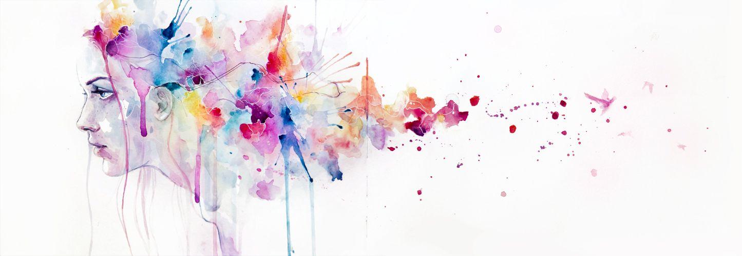 Beautiful Girl Watercolor Portrait Splash Splatter Ink Spill Face