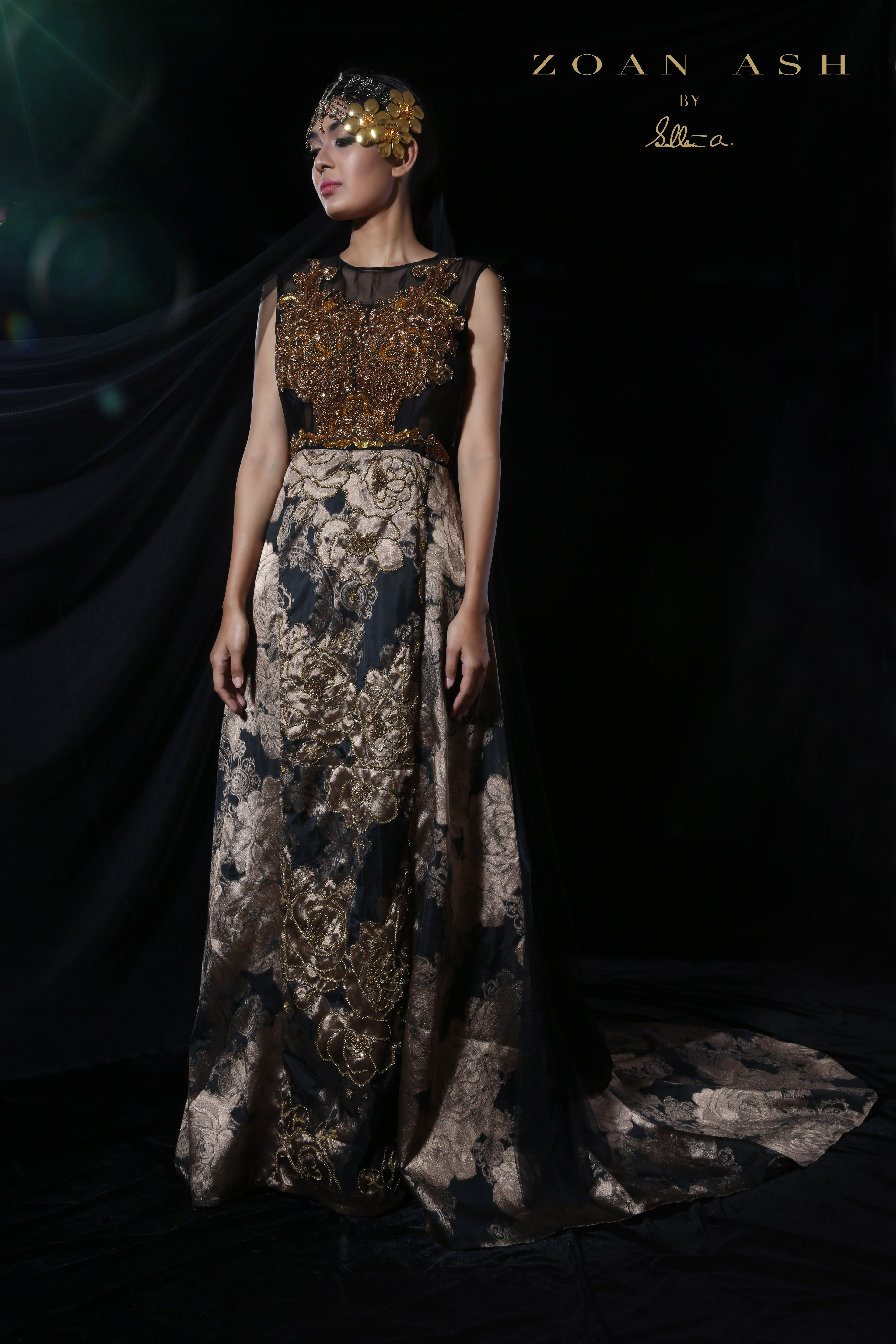 Eye Catching Antique Gold Gown With Handcrafted Embroidery At The Bust.