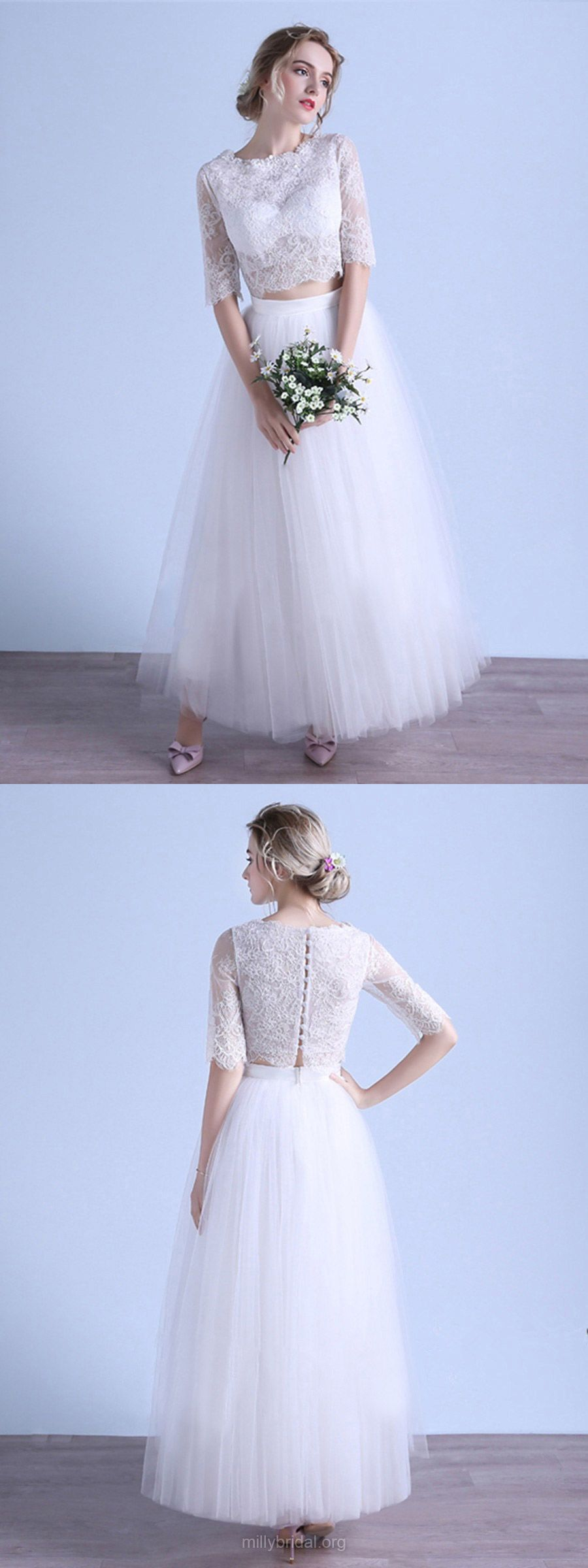 Two piece wedding dresses lace exclusive aline wedding dresses