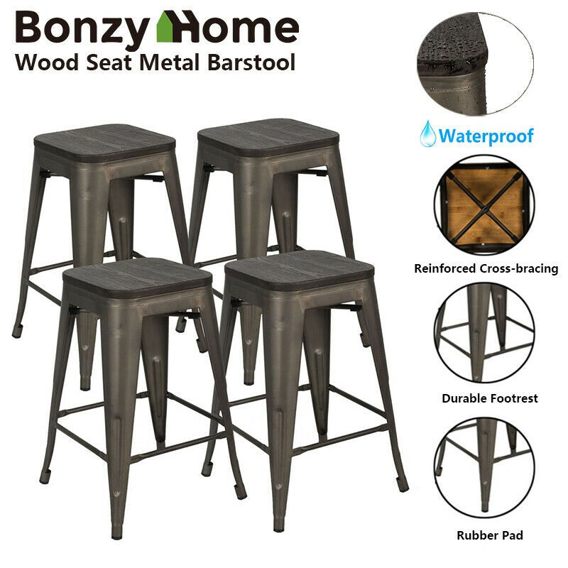 Wood Seat Metal Bar Stools 24 Counter Height Backless Stackable