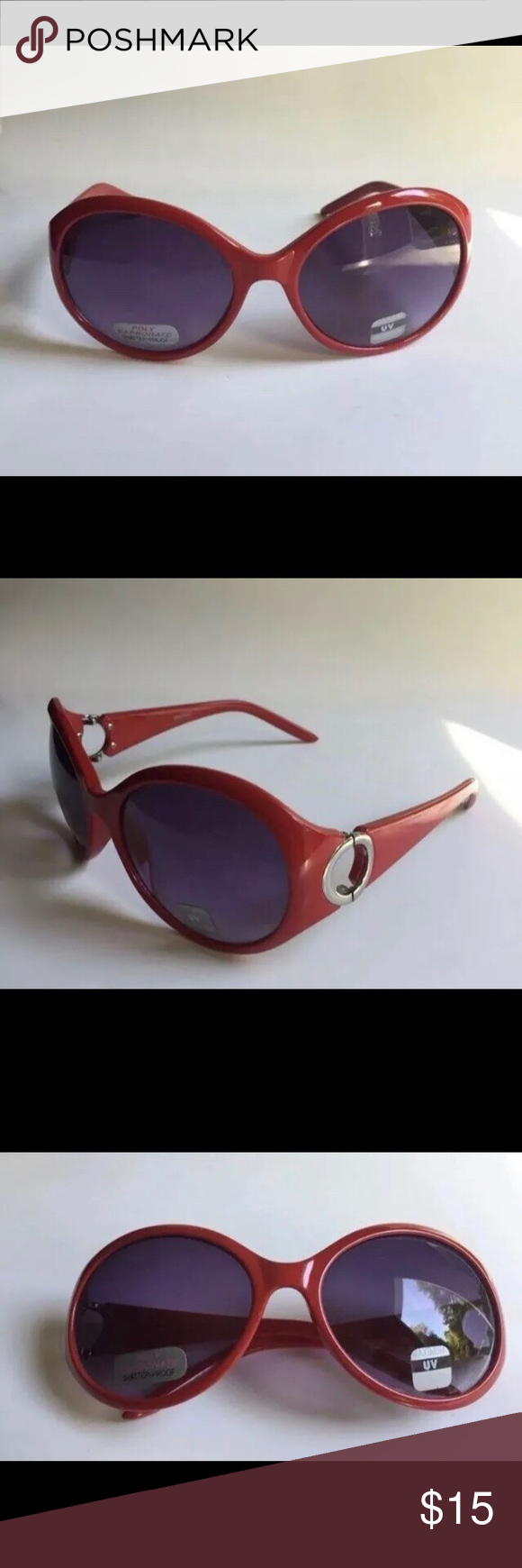 Womens Fashion Sunglasses Red and silver framed sunglasses Poly carbonate shatterproof lenses Maximum UV protection Accessories Sunglasses Best Picture For Women Jewelry...