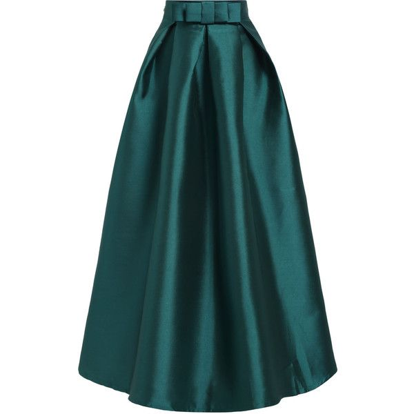 SheIn(sheinside) Green High Waist Bow Flare Skirt ($26) ❤ liked on Polyvore featuring skirts, green, long flared skirts, high waist long maxi skirt, skater skirt, long green maxi skirt and long blue maxi skirt