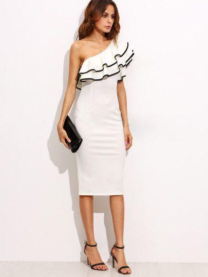White One Shoulder Ruffle Sleeve Sheath Midi Dress