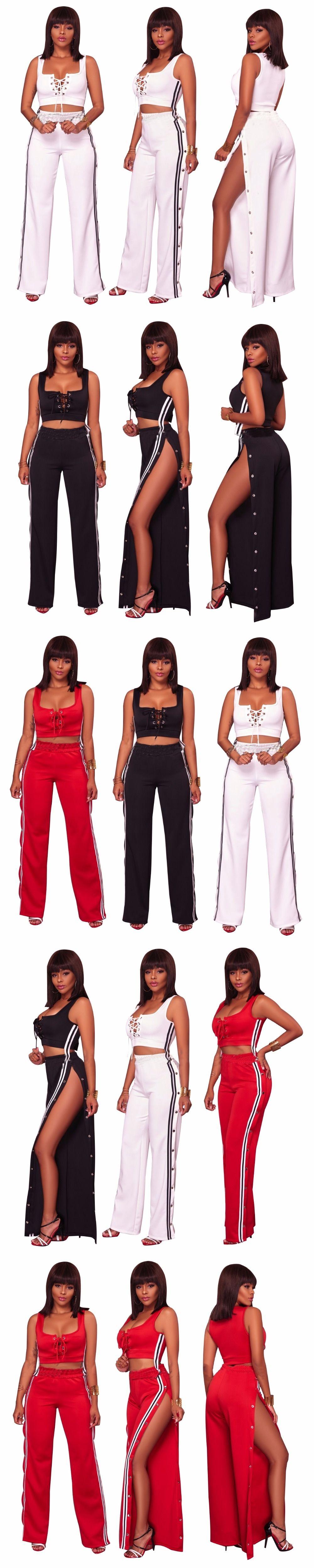 62b66f4ce89a 2018 Summer Fashion Women Sexy clothes Plus size two piece set crop top  Cropped Tops split Pants Hot Sale suit tracksuit