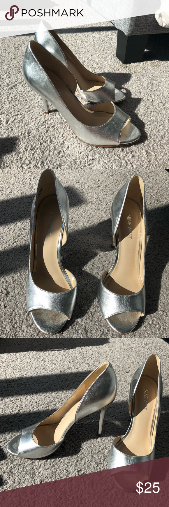 Nine West Silver Pumps Open Toed Silver Nine West Pumps Great As A Bridesmaids Heel Worn Once So Mild Wear On The Bottom 3 And 3 4 Silver Pumps Bridesmaids Heels Heels