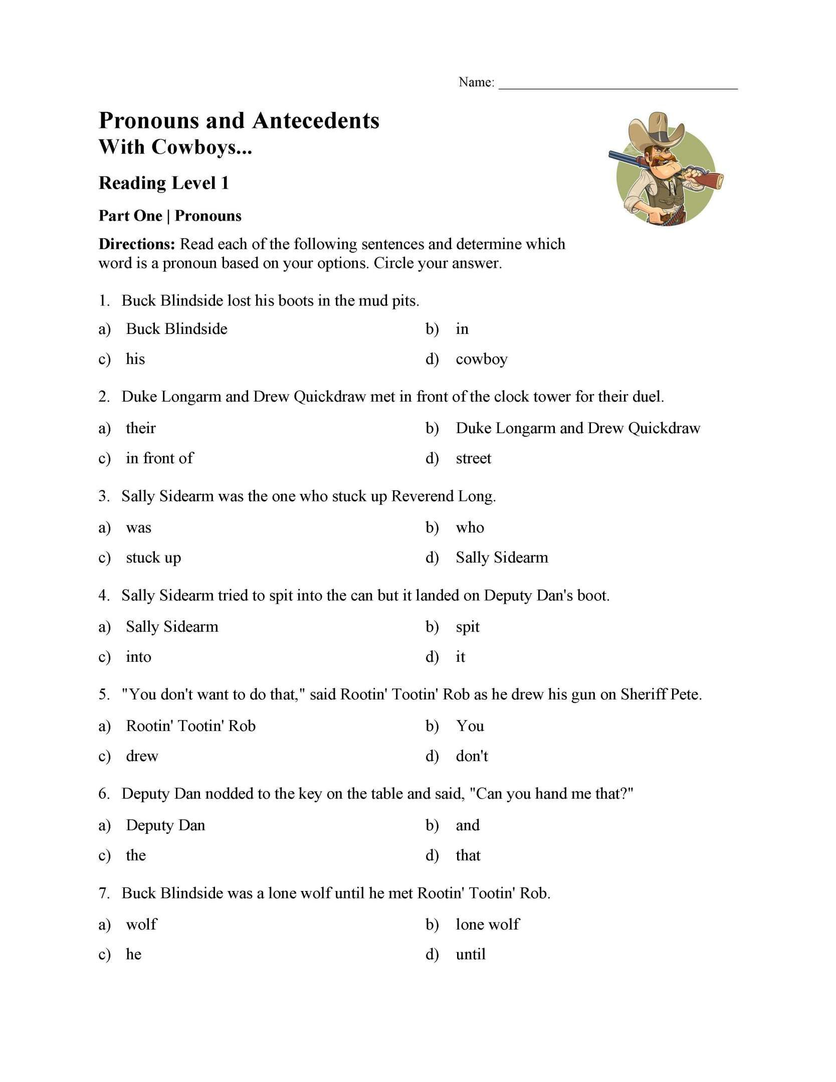 11 Cowboy Reading Worksheet