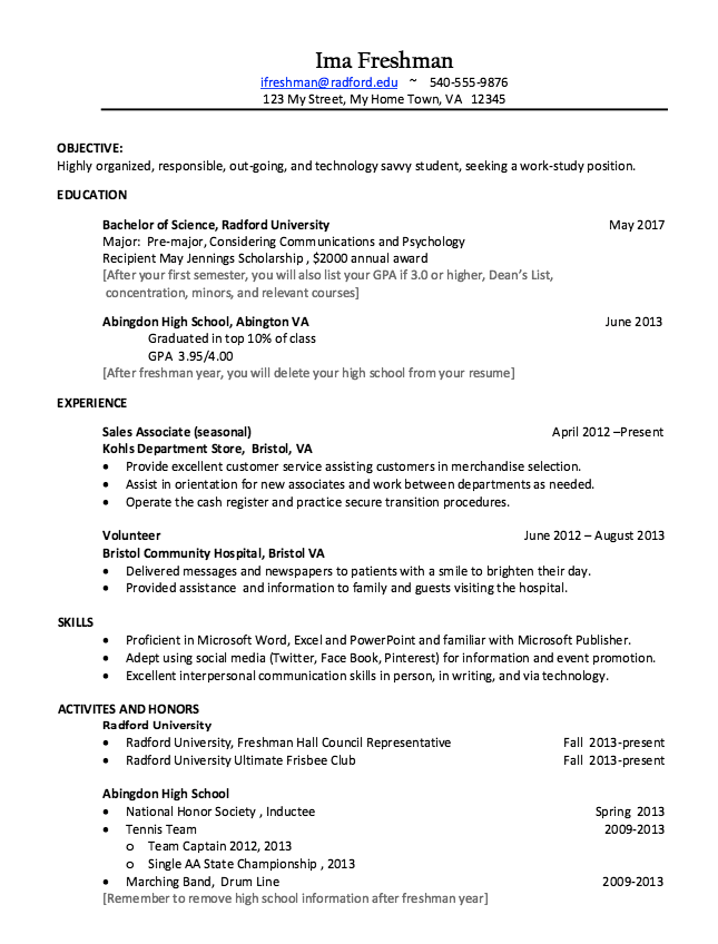 college freshman resume example
