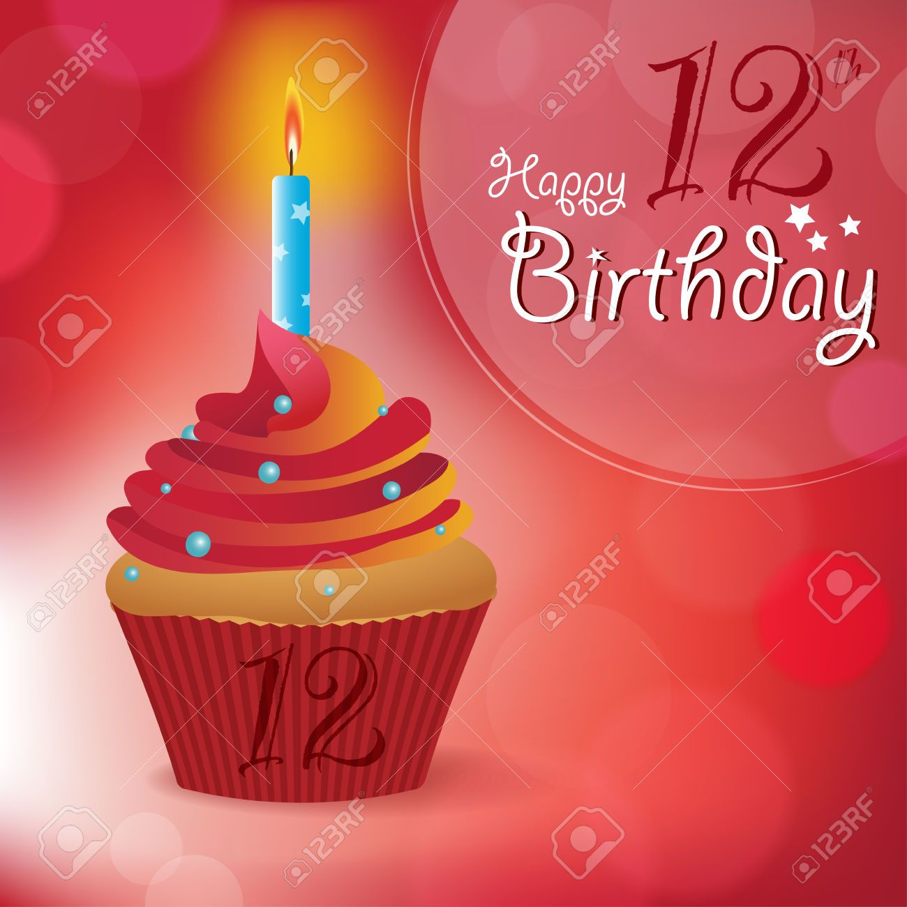30649436 happy 12th birthday greeting invitation message bokeh happy birthday greeting invitation message bokeh vector background with a candle on a cupcake stock vector kristyandbryce Images