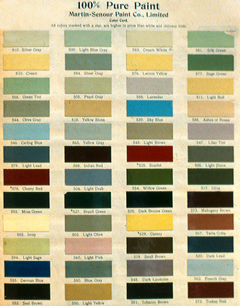 A colour card from 1912. Overall, a predominately lighter colour palette is evident, with darker tones that would be reserved for trim work.