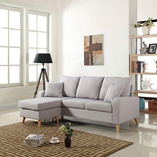 Mid Century Modern Linen Fabric Small Space Sectional Sof Sofas For Small Spaces Small Space Sectional Furniture For Small Spaces