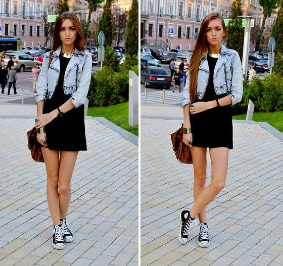 cute way to wear converse with a black dress and denim