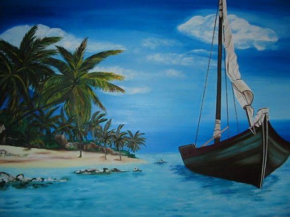 TABLEAU PEINTURE paysage mer bateau Paysages