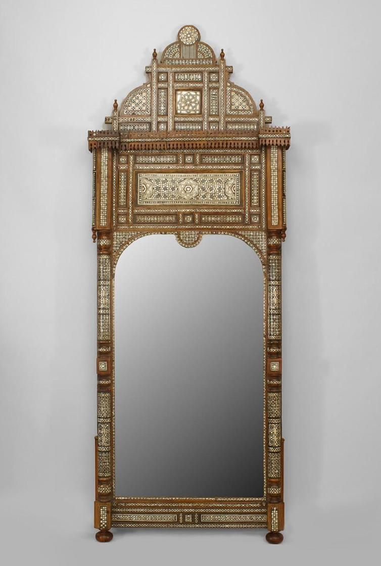 Middle Eastern Syrian (19th Cent) Wall Mirror With An Arch Glass And Inlaid  With