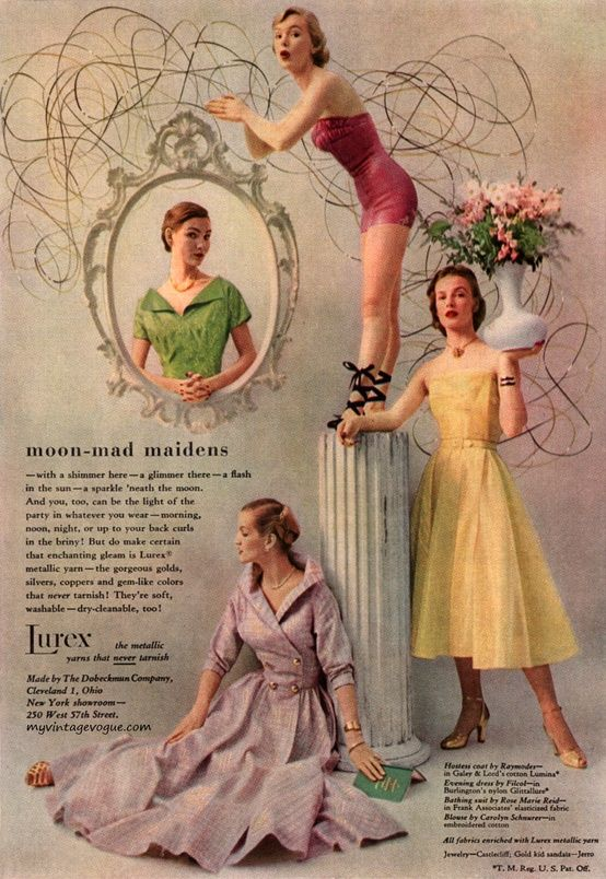 Lurex Advertisement, 1950s. #vintage #1950s #fashion #ads