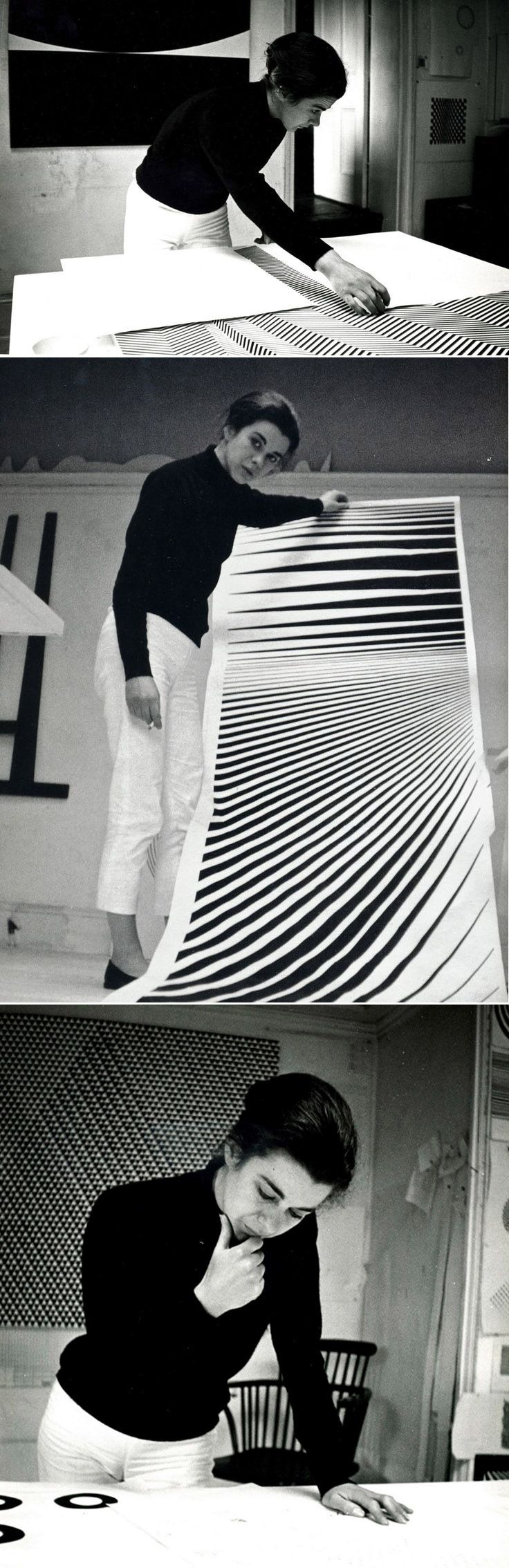 Maddie~This is Bridget Riley at work next to her artwork that she created.