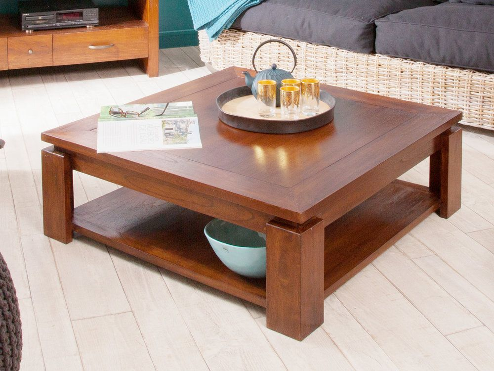 table basse carr e en bois longueur 90 cm freesia table. Black Bedroom Furniture Sets. Home Design Ideas