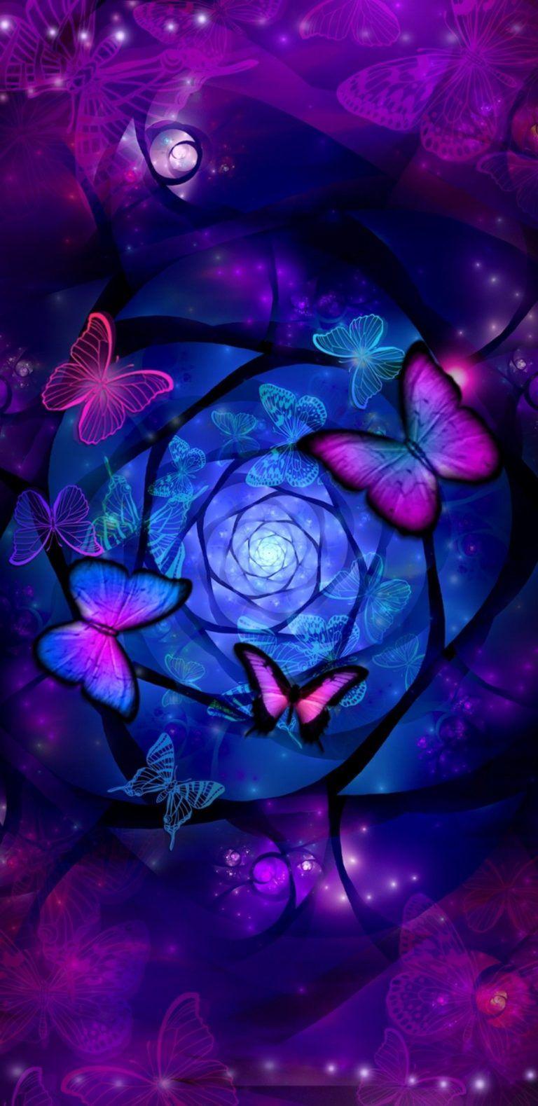iPhone Wallpaper | Purple, Blue, Violet, Fractal art ...