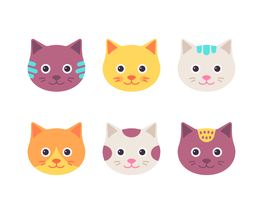 Cat Face Cute Kitten Head Cartoon Kitten Cartoon Cat Face Cute Cat Face