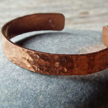 Hammered Copper Cuff Bracelet For Men And Women Select Sizes