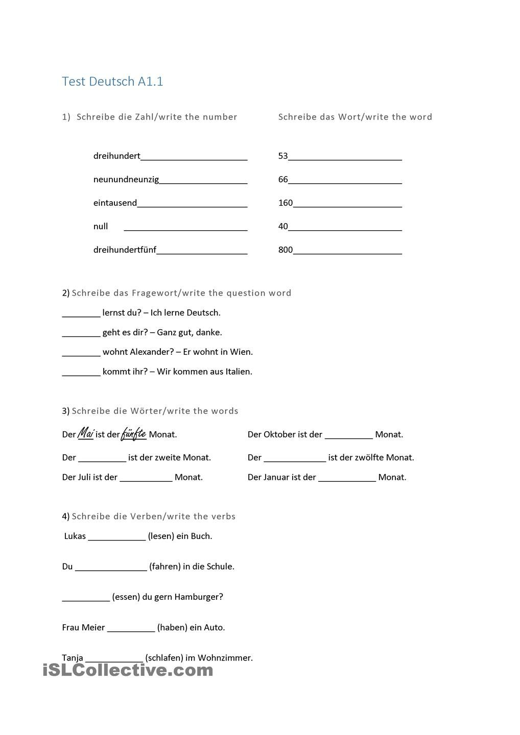 Test A1.1 német Pinterest Worksheets and Homeschool