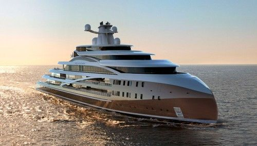 With the Project Sea Hawk superyacht concept, the London-based design firm Hawk Yachts aims to create a superyacht that is not only big in size, but substance as well. The 338-foot yacht concept has been engineered as a true luxury expedition craft—equally comfortable cruising near the polar ice caps or on the Amazon River. Its massive interior could accommodate as many as 36 guests and 62 crew. Approximately 1.5 decks higher than standard designs, the unique Hawk bow elevates the gunwale…